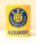 Tasse mit Logo und eigenem Namen gelb