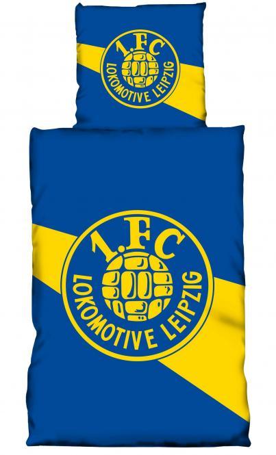 """Bettwäsche """"Logo"""" blau-gelb"""