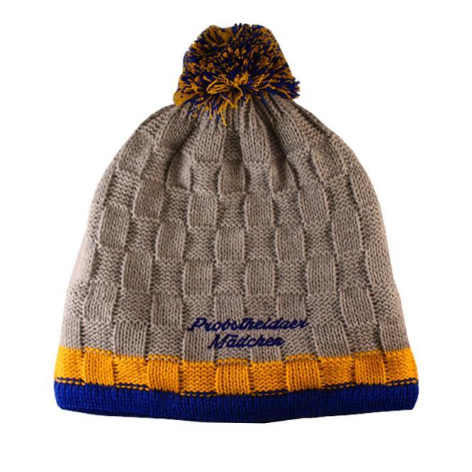 "Mütze ""Probstheidaer Mädchen"" grau-blau-gelb"