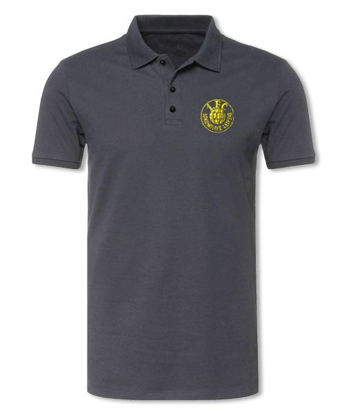 "Damen Poloshirt ""Logo gelb"", grau"