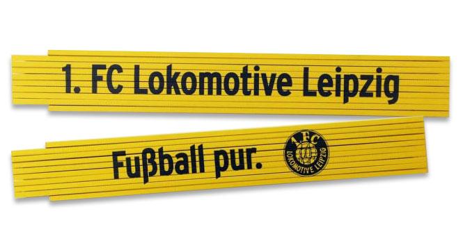 """Zollstock """"1. FC Lokomotive Leipzig e.V."""" gelb"""